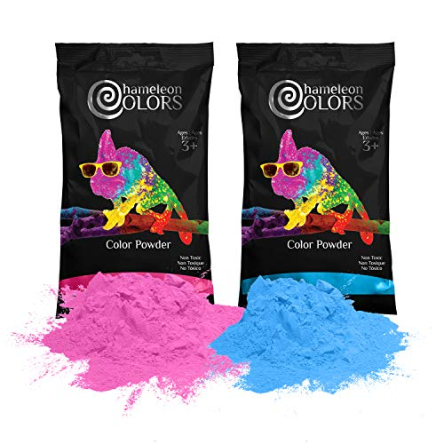 Chameleon Colors Holi Powder Gender Reveal 1lb Blue and 1lb Pink. Same Premium, Authentic Product Used for a Color Race, 5k, etc.