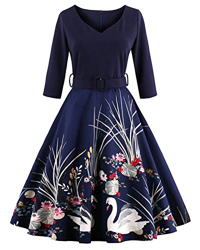 ZAFUL Women's 50s Vintage Floral V-Neck 3/4 Sleeve Party Swing Dresses with Belt (M, Navy blue) (Party City Flapper Dress)