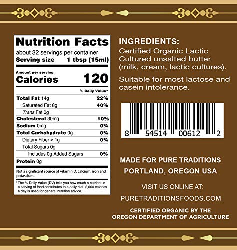 Organic Cultured Brown Butter Ghee, Grass Fed, Casein and Lactose Free (16 oz) by Pure Traditions (Image #3)