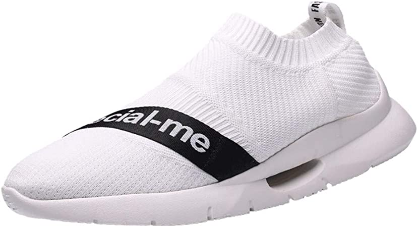 JJLIKER Mens Slip On Walking Shoes Mesh Lightweight Breathable Sneakers Comfort Soft Casual Running Tennis Shoes White