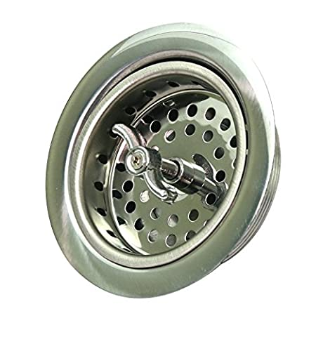 Everflow Spin & Seal Stainless Steel Body Sink Strainer with Basket 7541 with Brass Nuts Fits Sinks with 3-1/2 inch - 4 Inch Opening 4-1/2 Inch Flange with Die Cut Slip Joint Nut, Detachable - Brass Stainless Steel Nuts