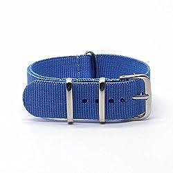 BINZI Nylon Canvas Buckle Watch Band 18mm Blue Strap,Replacement Fabric Band