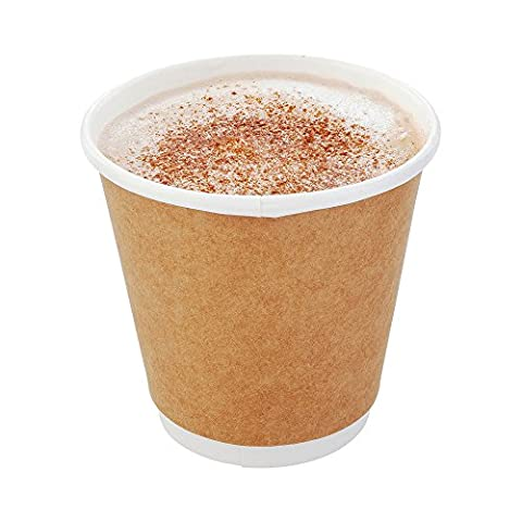 500-CT Disposable Kraft 8-oz Hot Beverage Cups with Double Wall Design: No Need for Sleeves - Perfect for Cafes - Eco Friendly Recyclable Paper - Insulated - Wholesale Takeout Coffee - 8 Ounce Cafe Mug
