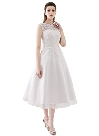 Jazylynbride Line Scoop Neck Tea-Length Tulle Lace Wedding Dress ...