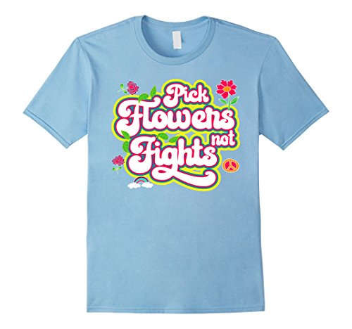 Mens Flower Power Novelty Tshirt for 60s Hippie Medium Baby Blue - Mens 60s Fashion