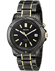 Seiko Mens SNQ045 Perpetual Calendar Black Ion Dress Watch