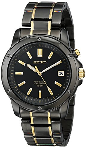(Seiko Men's SNQ045 Perpetual Calendar Black Ion Dress Watch)