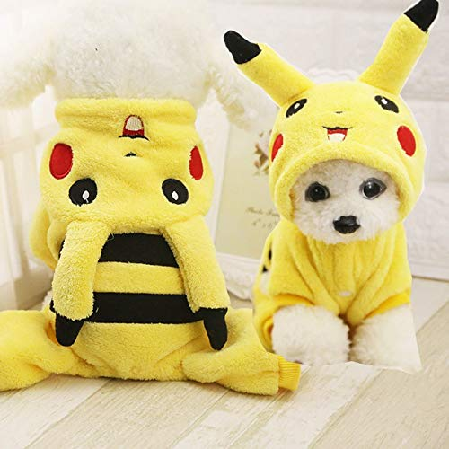 Cowmole Co. Cute Pikachu Design Winter Puppy Cosplay Costume Dog Cat Hoodie Clothes for Chihuahua Yorkie Sweater Coat XS-XL -