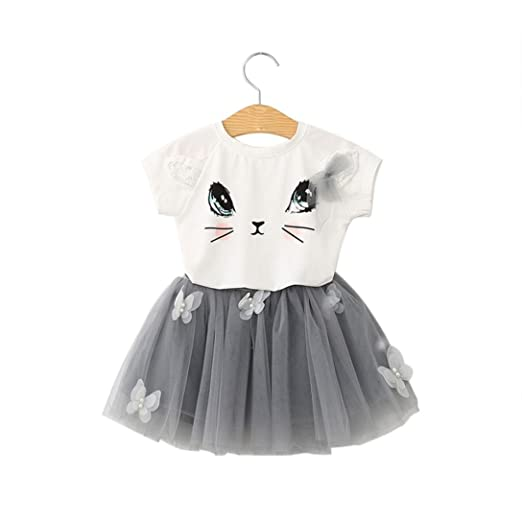 621e90a843 G-real Toddler Girls Kids Adorable Cat Pattern Sequins T-Shirt+Butterfly  Tulle