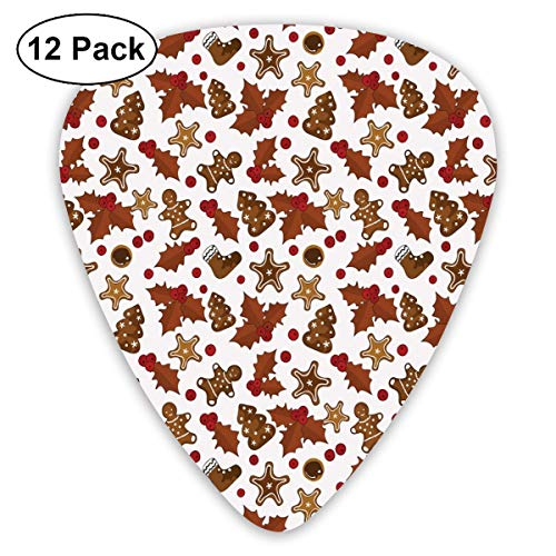 Guitar Picks - Abstract Art Colorful Designs,Holly Berries Gingerbread Man Cookies Cartoon Style Winter Season Holiday,Unique Guitar Gift,For Bass Electric & Acoustic Guitars-12 Pack