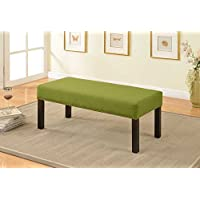 Container Furniture Direct Alma Collection Contemporary Upholstered Fabric Decorative Accent Bench with Nailhead Trim, Lime Green