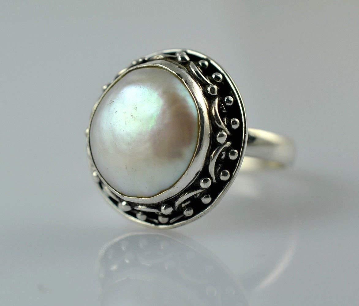 Anillo de perlas de monedas de agua dulce, Anillo de plata con perlas, Plata esterlina 925, Perlas de monedas, Anillo de perlas de monedas hechas a mano, Tamaño 4 a 29 ES