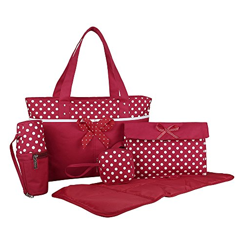 ECOSUSI 5 Piece Set Baby Diaper Tote Bag with Changing Pad