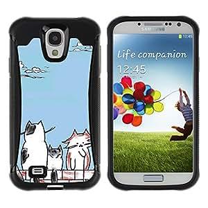 Pulsar Defender Series Tpu silicona Carcasa Funda Case para SAMSUNG Galaxy S4 IV / i9500 / i9515 / i9505G / SGH-i337 , Cats