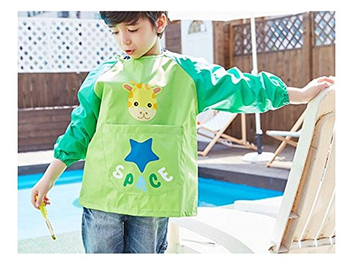 Gelaiken Perfect Cartoon Animal Giraffe Printed Apron Child Pocket (Green,Size:L) by Gelaiken