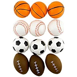 Adorox (24 Balls Assorted) 2.5 inches Mini Sports Balls Stress Relief Squeeze