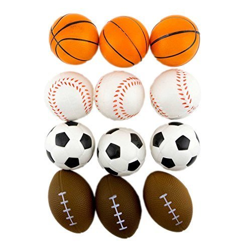 Adorox (24 Balls Assorted) 2.5 inches Mini Sports Balls Stress Relief Squeeze by Adorox