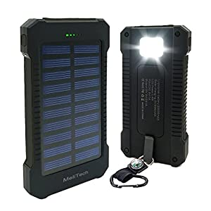 51vY24wMN5L. SS300  - MeliTech Portable Solar Charger Waterproof Mobile Power Bank 20000mAh External Backup Battery Dual USB 5V 1A/2A Output With LED Flashlight and Compass For Phones Tablet Camera iPhone Samsung