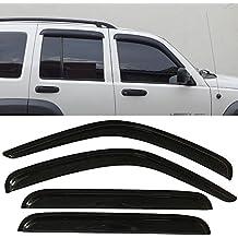 Window Visor fits 2002-2007 Jeep Liberty | Slim Style Acrylic Smoke Tinted & Semi-transparent Sun Rain Shade Guard Wind Vent Air Deflector by IKON MOTORSPORTS | 2003 2004 2005 2006