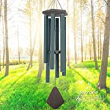 "Wind Chimes Outdoor Large Deep Tone, 44"" Sympathy Wind Chime Amazing Grace Outdoor, Memorial Wind-Chime Personalized With 6 Tuned Tubes, Elegant Chime For Garden, Patio, Balcony And Home, Matte Green For Sale"