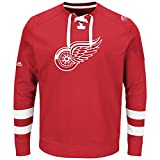 NHL Detroit Red Wings Men's Centre Long Sleeve Crew Neck Pullover Sweatshirt, X-Large, Athletic Red/Red/White
