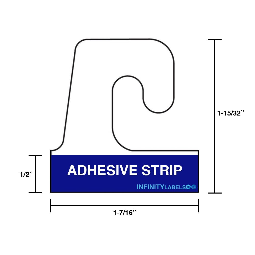 BULK 5000 Hook Style, 1 7/16'' X 1 15/32 Adhesive Hang Tabs. Made in the USA