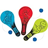 """Amscan Toy Story Power Up Birthday Party Paddle Ball Favor (12 Pack), 4"""" x 2"""", Red/Green/Blue"""