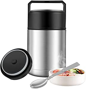 Insulated Food Jar,27oz Food Thermos with Folding Spoon Handle,Thermos Lunch Jars for Hot Food Wide Mouth,Leak Proof Soup Thermos,Stainless Steel Vacuum Insulated Thermal Food Container Flask (Silver)