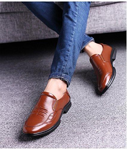Rainstar Mocasín De Piel De Vacuno Para Hombre Mocasín Casual Con Cordones Vestido Zapatos Oxford Marrón-slip On
