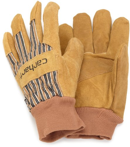 Cowhide Mens Glove - Carhartt Men's Insulated Suede Work Glove with Knit Cuff, Brown, X-Large