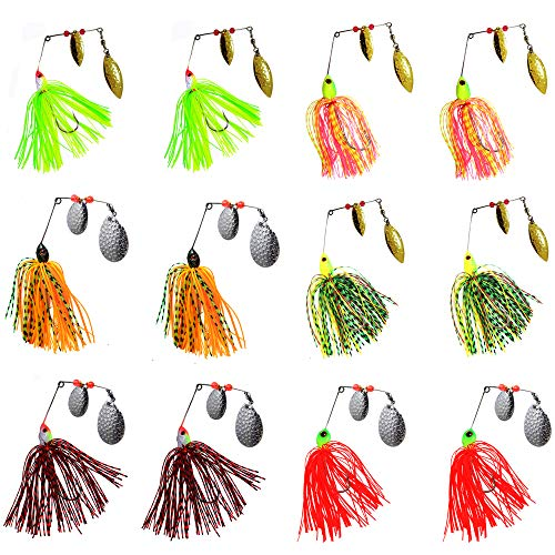 AGOOL Fishing Spinner Baits Lure Kit - Hard Metal Spinner Lures Multicolor Jig Lures Buzzbait Swimbaits for Pike Bass Trout Salmon Freshwater Saltwater Fishing 6pcs/12pcs