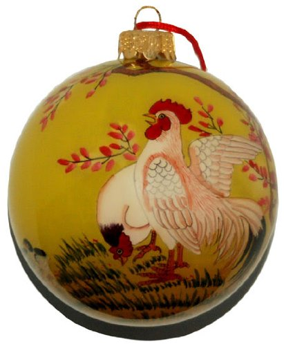 Hand Painted Glass Ornament, Happy Chicken Family ()