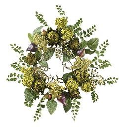 Nearly Natural 4684 Artichoke Floral Wreath, 20-Inch, Multi