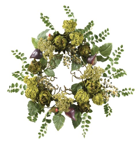Nearly Natural 4684 Artichoke Floral Wreath, 20-Inch, Multi (Nearly Natural Silk Artichoke)