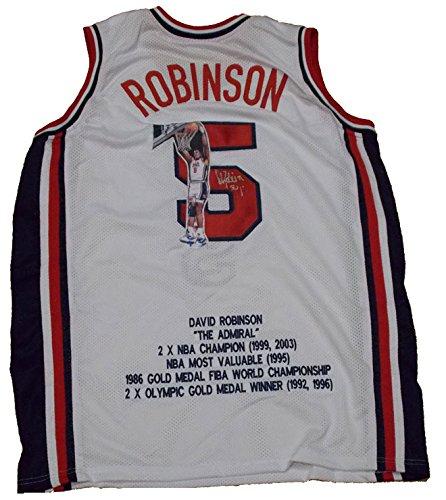 David Robinson Autographed USA Professional Basketball Club David Robinson Photo Jersey (MAB - DROBJER11) ()