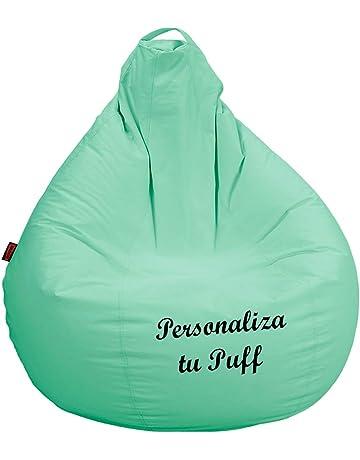 loconfort Puff pera Personalizado con TU Nombre, Poli Piel Beig