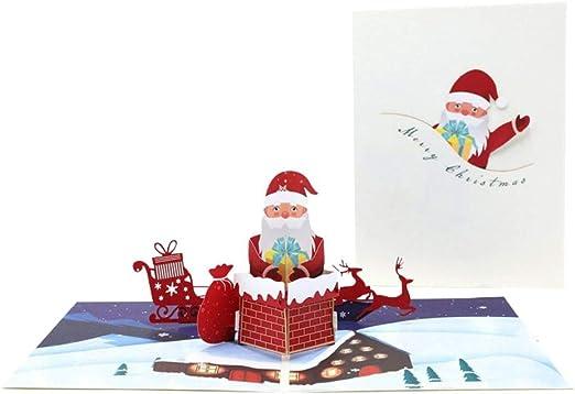 Tarjeta de felicitación emergente de 3D, chimenea de escalada de Papá Noel Invitaciones de fiesta navideña Regalos para Navidad/Año Nuevo