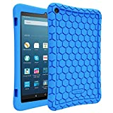 Fintie Silicone Case for Amazon Fire HD 8 (Previous Generation - 6th) 2016 release - [Honey Comb Series] [Kids Friendly] Light Weight [Anti Slip] Shock Proof Silicone Protective Cover, Blue