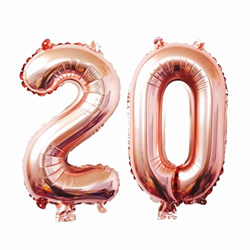 (KEYYOOMY Big Number 20 Mylar Balloons 40 inch Rose Gold 20th Jumbo Foil Number Balloon for Twenty Birthday Party Anniversary Celebrate Parties Decoration (40 inch, Rose Gold)