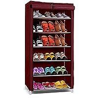 Ebee 6 Shelves Shoe Cabinet (Maroon)(58 x 28 x 109)