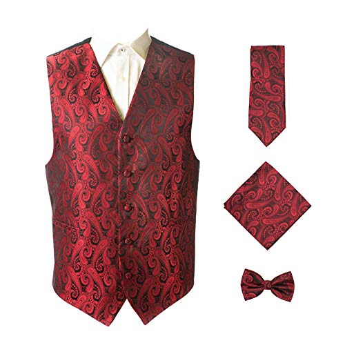 Oliver George 4pc Paisley Vest Set-Red/Black-XL
