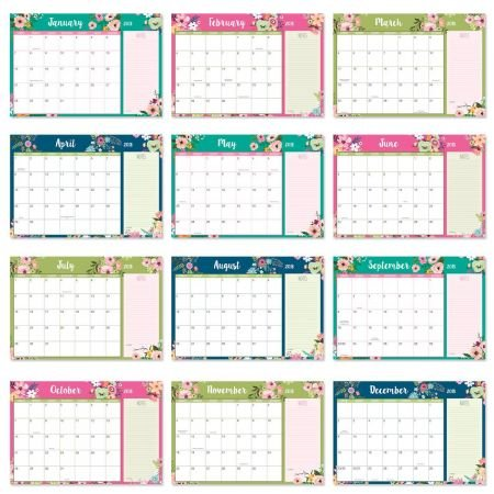 2018/2019 Floral Fantasy Calendar Pad - 11'' x 16-1/4'', Runs from January 2018 to December 2019
