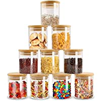 Glass Food Storage Containers Set,Spice Jar Set,3 Piece Glass Jar with Bamboo Airtight Lids and Labels, Mini Clear Food…