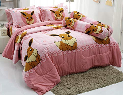 Tamegems Bedding Eevee Pink Bed Sheet Set, 1 Fitted Sheet, 2 Pillow Case, 2 Bolster Case (Not Included Comforter) 039 Set B (Queen ()