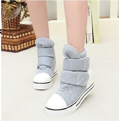 KHSKX-Zapatos De Lona Interior Alta Ayuda Magic Stick Tacon Medio De Calzado Botas Cortas Solo Gray Treinta Y Cinco Thirty-seven
