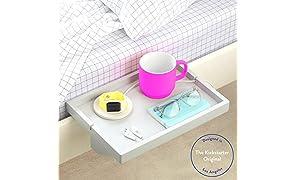 BedShelfie The Original Bedside Shelf - 9 Colors / 3 Sizes - AS SEEN ON Business Insider (Original, Bamboo in Light Grey)