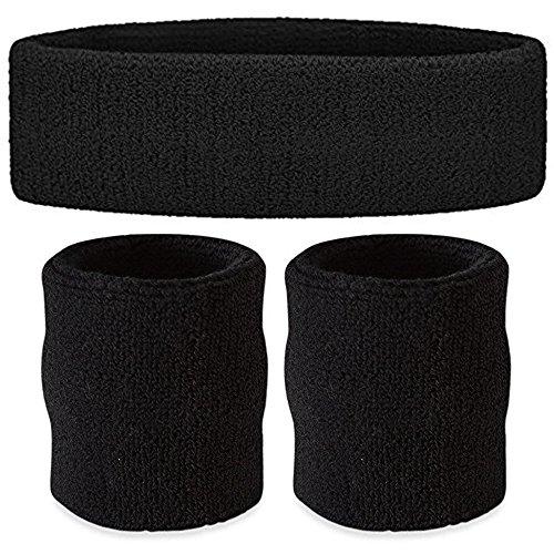 Sport Headband + Wristband Set for Men & Women - 3PCS Moisture Wicking Athletic Cotton Terry Cloth Sweatband for Tennis, Basketball, Running, Gym,wookout(1Pc Headband + 2Pcs Wristbands)
