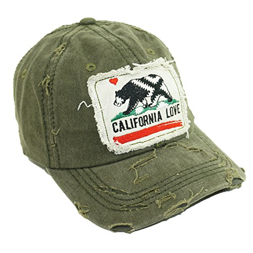 Republic Olive - California Love Embroidery Vintage Hat Adjustable California Republic Baseball Cap (Olive)