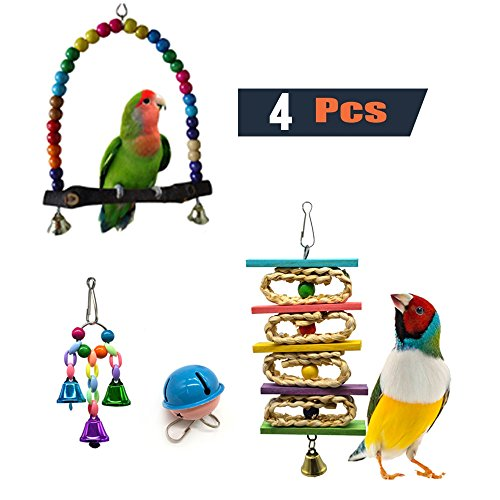 PINCHUANG Pack of 4 Hand Made Bird Hanging Bell Toy Bird Chewing Toy for Small and Medium Birds Standing or Swing by SHANTU