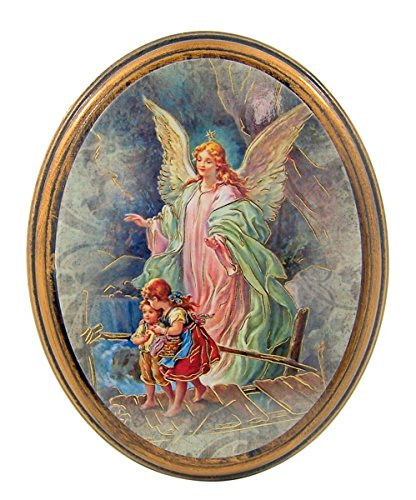 Gold Embossed Guardian Angel Icon on Oval Wood Plaque, 5 Inch Guardian Angel Birthday